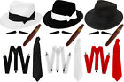 DLX GANGSTER HAT BRACES TIE SPIV TASH CIGAR 5 1920'S FANCY DRESS 55CM 58CM 60CM
