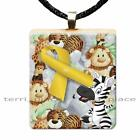 Yellow Ribbon Scrabble Tile Pendant Necklace Childhood Cancer Awareness Support