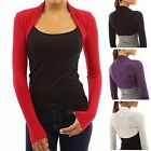 Womens Long Sleeve Bolero Shrug Plain Cropped Cardigan Top C