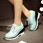 Womens Shoes Stylish Lace Up Platform Breathable Casual Wedge Heels Extra Size