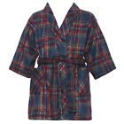 Navy Red Plaid Two Pocket Fleece Robe Little Boy Girl 7-12