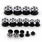 Black Big Cross Punk Acrylic Ear Tunnel Plug Screw Expander Stretcher Gauge Cool
