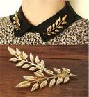 Newest Fashion Jewelry Gold Plated Leaf Brooch Pins 1 pair Clothes Accessories