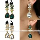 Pair Crystal Flower Gold Plated Dangle Teardrop Gem Earrings Party Jewelry Gift