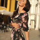 Women Beach Bohemia Long Maxi Dress Black Floral Crew Neck 1/2 Sleeve Blouson