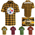 NFL Football Team Logo Mens Short Sleeve Colorblock Flannel Shirt - Pick Team