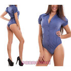 Body camicia donna maniche corte palloncino colletto business sexy nuovo G-7011