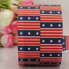 "7/8""22mm USA  Independent day flag pattern print grosgrain ribbon 4th July"