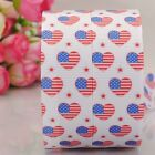 "7/8""22mm heart with flag pattern printed grosgrain ribbon USA Independent day"