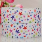 "1""25mm white stars pattern printed grosgrain ribbon USA Independent day 4th July"