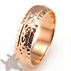 6mm 10K REAL ROSE GOLD Hammered Faceted Mens Wedding Band Ring Full Size
