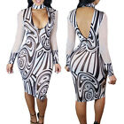 Boho Ethnic Printed Women Plus Size Bodycon Dress Long Sleeve Casual Party Wear