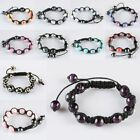 Fashion Women Round Gemstone Bead Bracelet Adjustable Cord Bangle Charm Jewelry