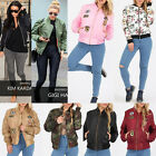 WOMENS DESIGNER FASHION CELEB INSPIRED BOMBER BIKER CAMO JACKET OUTFIT COAT