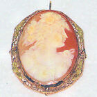 Antique Vintage Shell Cameo Brooch GODDESS FLORA High Relief 10k Pendant XLNT!
