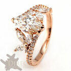 1.0 Carat Look 10x5mm Marquise Created Diamond 10K Rose Gold Engagement Ring