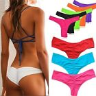 HOT Brazilian Women V Thong Cheeky Ruched Bikini Bottom Swimwear Beachwear FO