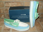 New Sperry Top-Sider Biscayne Green-White-Blue Canvas Boat shoe