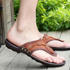 Summer Men's Fine Leather Sandals Slippers Comfort Casual Shoes Beach Flip Flops