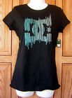 DC Shoes Blue Gray Line Logo Black T Shirt Top NWT Box29