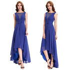 Sexy Long Gown Evening Prom Party Dress Dark Blue Bridesmaids High-Low Cocktail