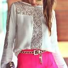 Fashion Women's Lace +Chiffon Tops Long Sleeve Shirt Casual Blouse Loose T-shirt