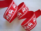 RED WHITE REINDEER NORDIC  WIRE WIRED EDGE RIBBON 38MM  5M,10M