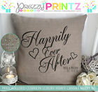 PERSONALISED HAPPILY EVER AFTER CANVAS CUSHION ANNIVERSARY WEDDING NEW HOME GIFT