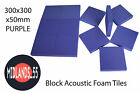 BLP300 Purple Acoustic Foam Block Tiles - Multiple Quantities 300x300x50mm