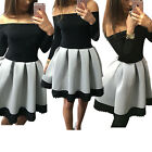 Women Lady Black White Off Shoulder Long Sleeve Ruched Casual Swing Party Dress