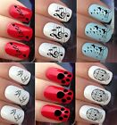 NAIL ART STICKERS WATER TRANSFER DECAL WRAPS PAW NOTES SWALLOWS BOWS SKULL CROSS
