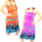 2 Pack: Women's Tie Dye Pattern Sundresses by RC Collection-Orange & Purpl
