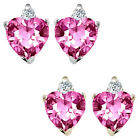 0.01 Carat Diamond Heart PinkTopaz Birth Gemstone Earrings 14K White/Yellow Gold