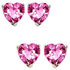 7mm Heart CZ Pink Topaz Birthstone Gemstone Stud Earrings 14K White/Yellow Gold