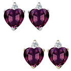 0.01 Carat Diamond Heart Alexandrite Gem Stone Earrings 14K White/Yellow Gold