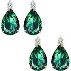 0.01 Carat TCW Diamond Pear Emerald Gemstone Earrings 14K White Yellow Gold