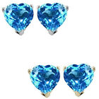 6mm Heart CZ Blue Topaz Birthstone Gemstone Stud Earrings 14K White Yellow Gold
