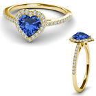 8MM Sapphire Birth Gem Stone Halo Solitaire Heart Love Ring 14K Yellow Gold
