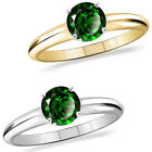 1 Carat Diamond Emerald GemStone Solitaire 14K White/Yellow Gold Engagement Ring
