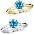 1 Carat Diamond BlueTopaz GemStone Solitaire 14K White/Yellow Gold Promises Ring