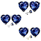 7mm Heart CZ Sapphire Birth Gemstone Stud Earring Strling Silver 14k Gold Plated