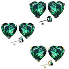 6mm Heart CZ Emerald Birth Gemstone Stud Earring Strling Silver 14k Gold Plated