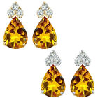 Pear Shape Citrine Gem Birth stone Earrings Silver White/Yellow Gold Plated