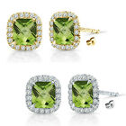 6mm Peridot Birthstone Gem Stud Halo Solitaire Cushion Silver Earring