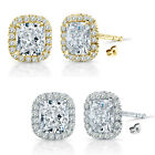 6mm Cubic Zirconia Birthstone Gem Stud Halo Solitaire Cushion Silver Earrings
