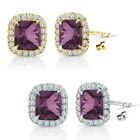 6mm Alexandrite Birthstone Gem Stud Halo Solitaire Cushion Silver Earring