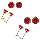 Garnet Birthstone Gem 3 Prong Martini Stud Solitaire Round Silver Earrings