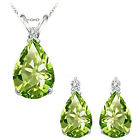 Peridot Pear Birth Gem Stone Set Pendant Earring 14K White Yellow Gold Diamond