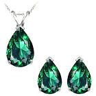 8x5mm Pear CZ Emerald Birthstone Pendant Earring Set 14K White Yellow Gold