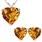 6mm Heart CZ Citrine Birth Gemstone Pendant Earring Set 14K White Yellow Gold